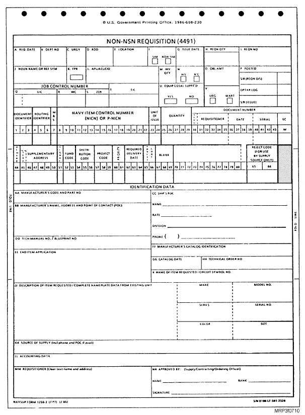 Non Nsn Requisition Navsup Form 1250 2